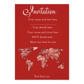 Red sandy atlas 5x7 paper invitation card