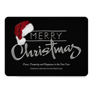 Red Santa Hat Modern Corporate Christmas Card