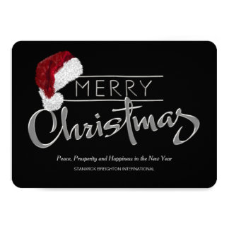 Red Santa Hat Modern Corporate Christmas Card