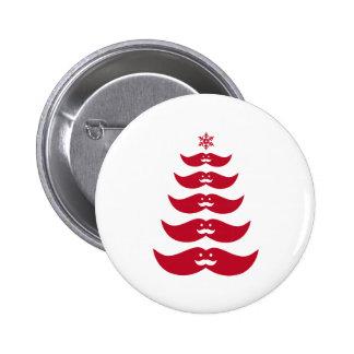 Red Santa mustache Christmas tree Pinback Button
