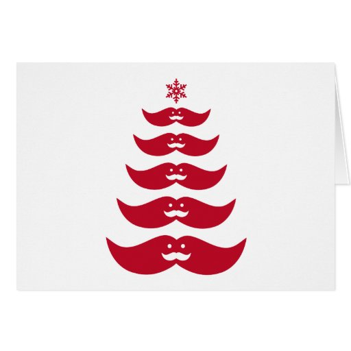 Red Santa mustache Christmas tree Card