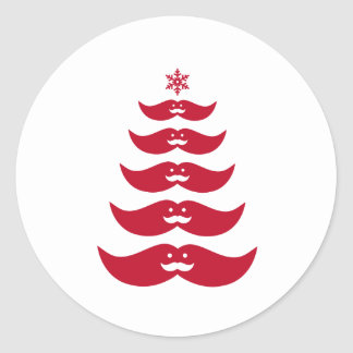 Red Santa mustache Christmas tree Classic Round Sticker