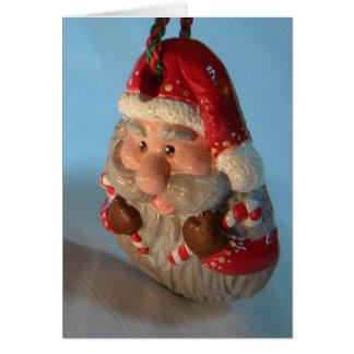 Red Santa Ornament Card