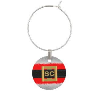 Red Santa Suit Custom Initials Wine Charm