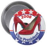 Red Sarah Palin Pumps 4 Inch Round Button