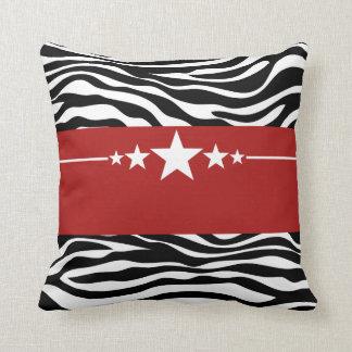 Red Sassy Star Zebra Pillow
