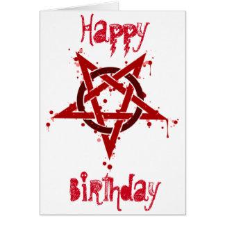 Red Satanic Spotted Pentagram Birthday Card