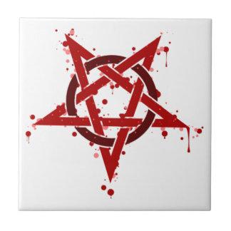 Red Satanic Spotted Pentagram Ceramic Tile