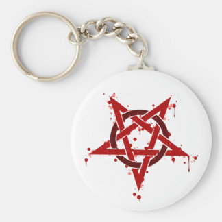 Red Satanic Spotted Pentagram Keychain
