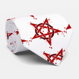 Red Satanic Spotted Pentagram Neck Tie