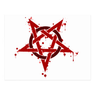 Red Satanic Spotted Pentagram Postcard