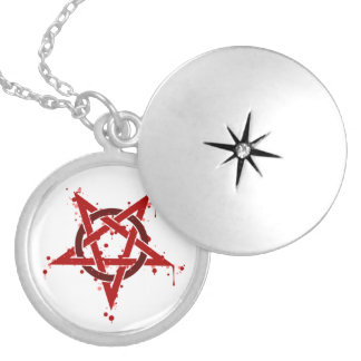 Red Satanic Spotted Pentagram Silver Plated Necklace