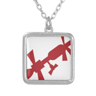 Red Satellite Space Station Icon Square Pendant Necklace