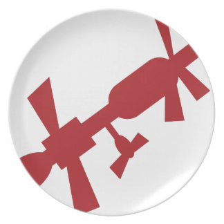 Red Satellite Space Station Icon Dinner Plate