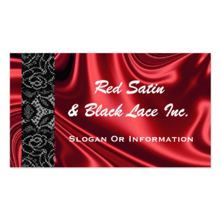 Red Satin And Black Lace Business Cards