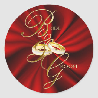 Red Satin and Gold Wedding Rings Classic Round Sticker