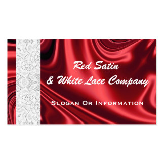Red Satin And White Lace Business Cards