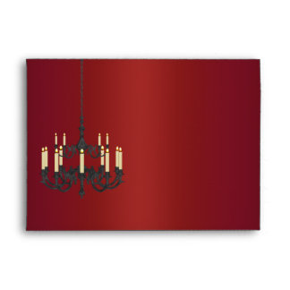 Red Satin Black Chandelier Envelopes