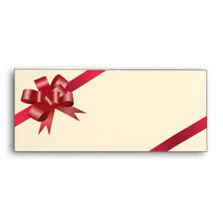 Red satin bow ribbon holiday gift business logo envelope