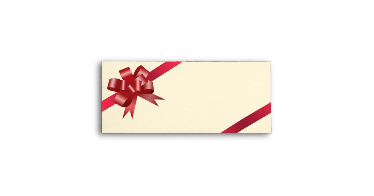 Red Satin Bow Ribbon Holiday Gift Business Logo Envelopes