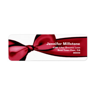 Red Satin Bow Wedding Return Address Label