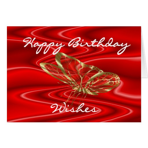 Red Satin & Butterflies- customize any occasion Card