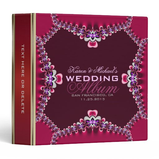 Red Satin Fuchsia Lace Wedding Album Binder