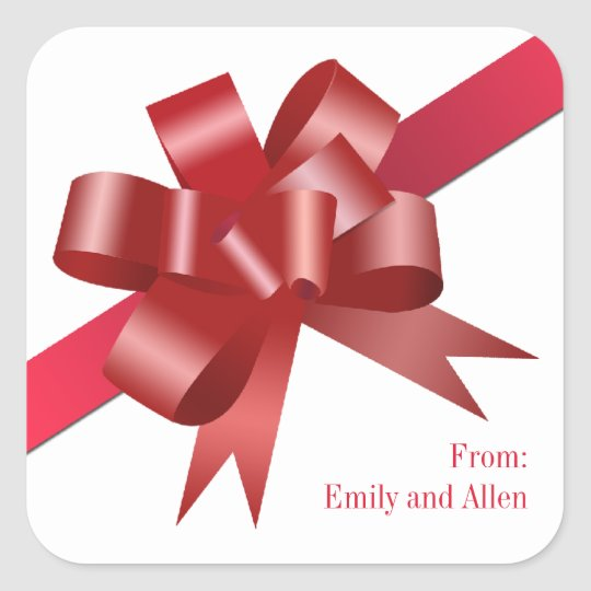 Red satin gift bow ribbon Christmas holiday label Square Sticker