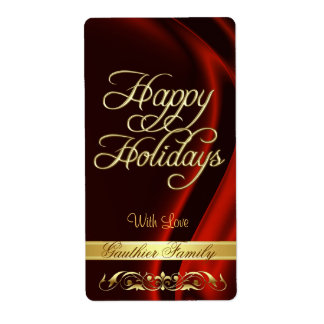 Red Satin Gold Scroll Happy Holidays Wine Label Shipping Label