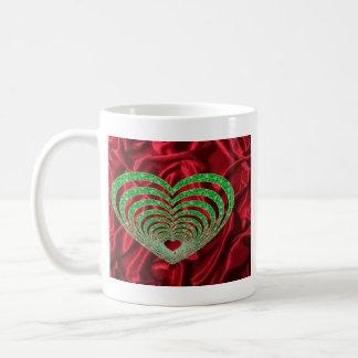 red satin-green heart coffee mug