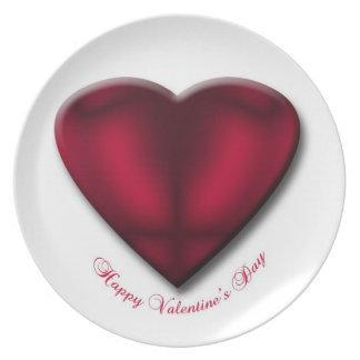Red Satin Heart Dinner Plate