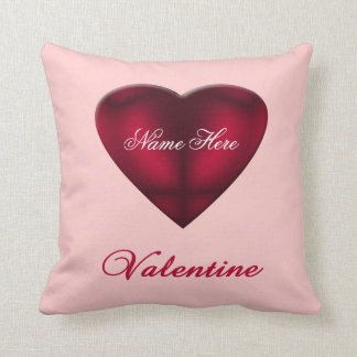 Red Satin Heart Throw Pillow