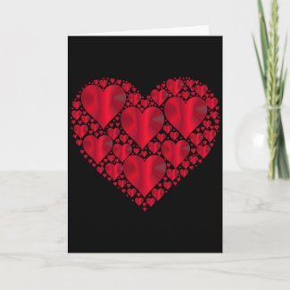 Red Satin Hearts, Black Valentine Holiday Card