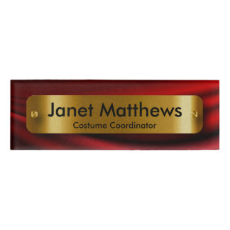 Red Satin Ribbon with Gold Label Plate Name Tag