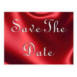 Red Satin Save The Date Postcards