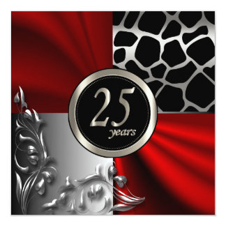 Red Satin & Silver 25 Year Party Template Card