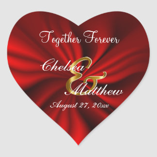 Red Satin Wedding  | Personalize Heart Sticker