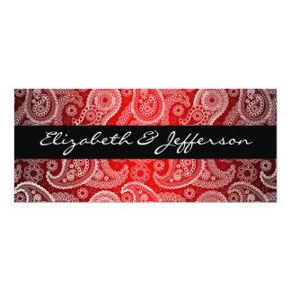 "Red Satin & White Paisley Lace Wedding Invitation 4"" X 9.25"" Invitation Card"