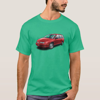 Red Saturn SW2 on green t-shirt