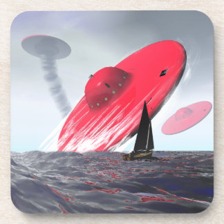 Red Saucer Attack Coaster