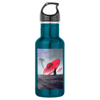 Red Saucer Attack Stainless Steel Water Bottle