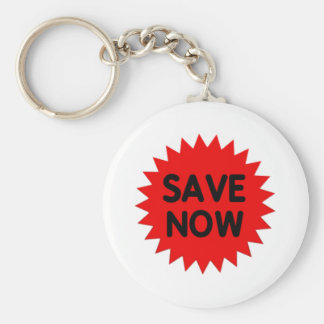 Red Save Now Key Chains