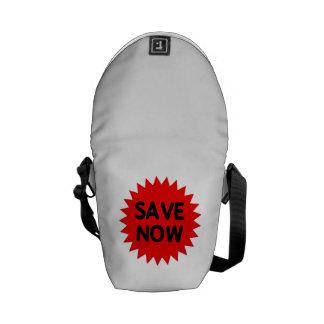Red Save Now Messenger Bag