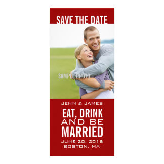 Red Save the Date EAT DRINK BE MARRIED Invite