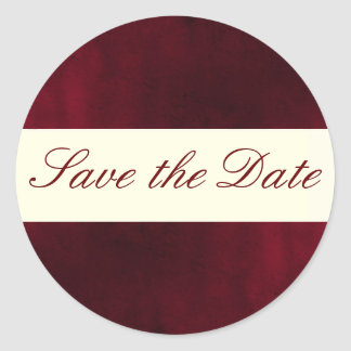 Red Save the Date Sticker/Seal Classic Round Sticker