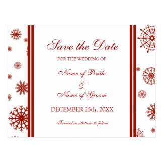 Red Save the Date Winter Wedding Postcard