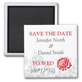 Red Save The Dates 2 Inch Square Magnet