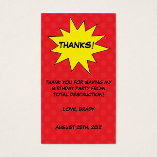 Red Save the Day Superhero Birthday Favor Tags