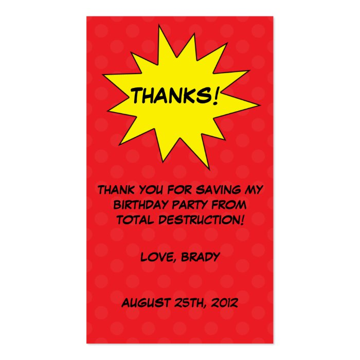Red Save the Day Superhero Birthday Favor Tags Business Card