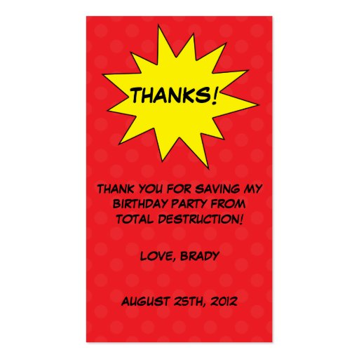 Red save the day superhero birthday favor tags business cards for Superhero business cards